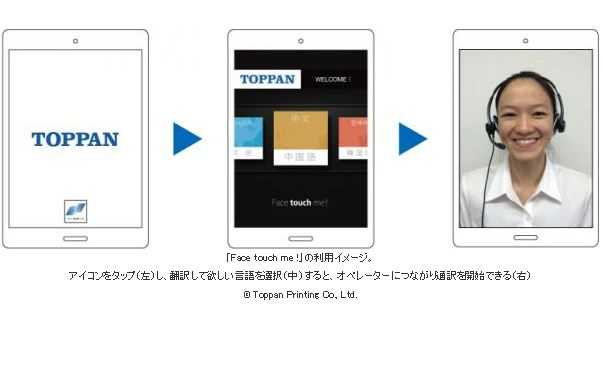 New translation service for three foreign languages is provided on tablet videophone