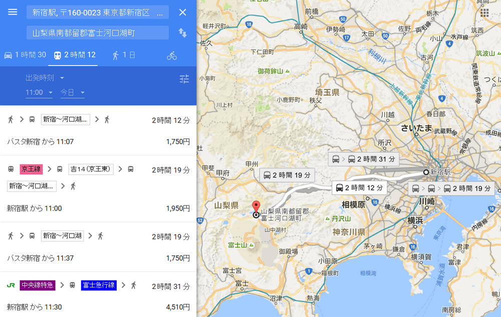 Google Map displays highway bus routes in Japan