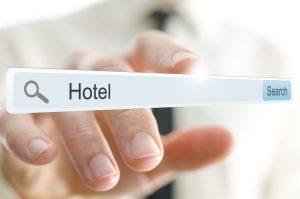 Word Hotel written in search bar on virtual screen.