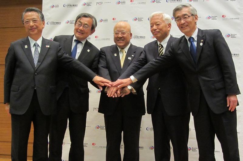 The photo below: (from left) Satoshi Seino, JNTO President, Shigeto Kubo, JTTA President, Hiromi Tagawa, JATA Chairman, Shinichi Fukushima, OCTB Chairman, Takashi Yoshida, OCTB director