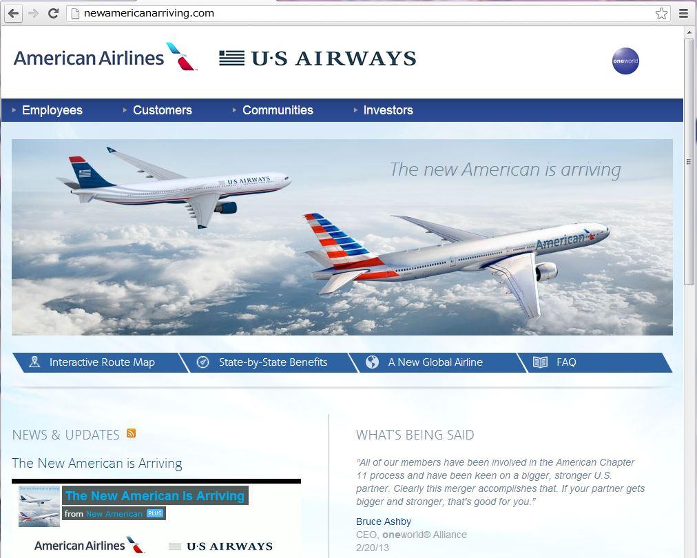アメリカン航空とUSエアウェイズ、コードシェア運航を拡大、同旅程で利用可能に