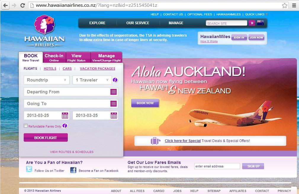 ハワイアン航空、オークランドに就航-週3便で
