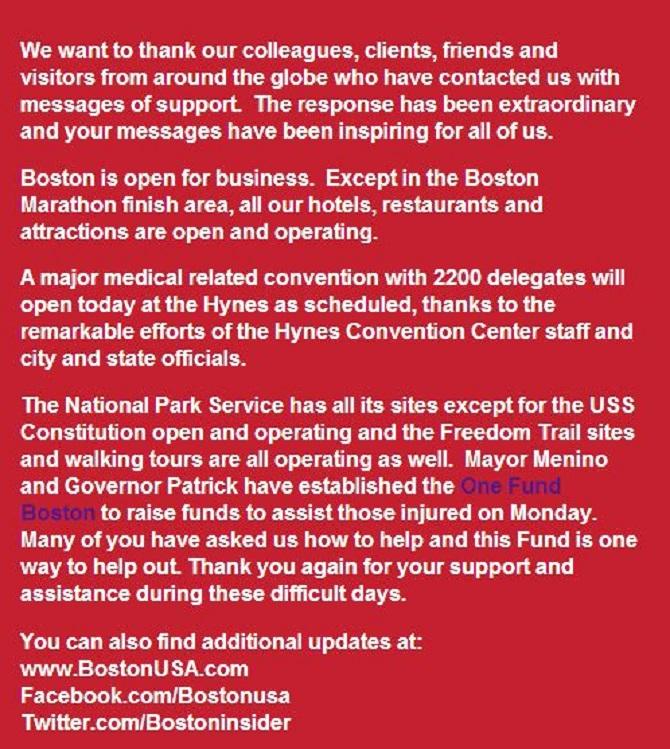 マサチューセッツ州、ボストン市など、爆弾テロ後の安全と現地情報を発表