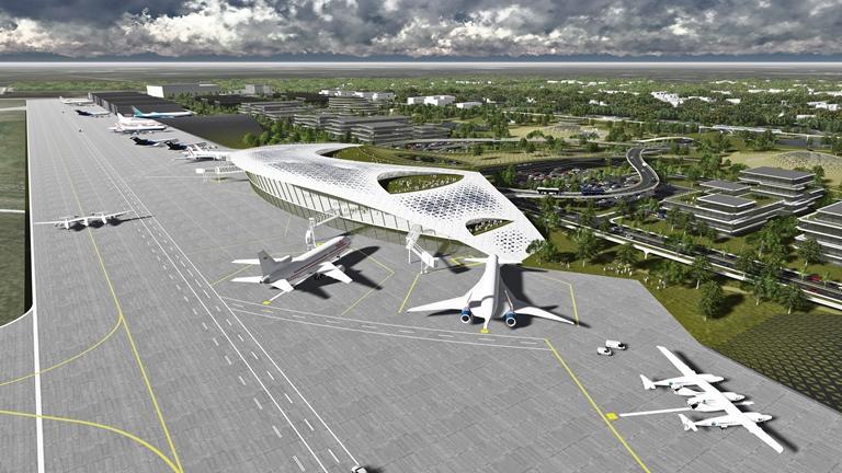 ヒューストンに商業宇宙飛行のための空港を計画、完成予想図公開