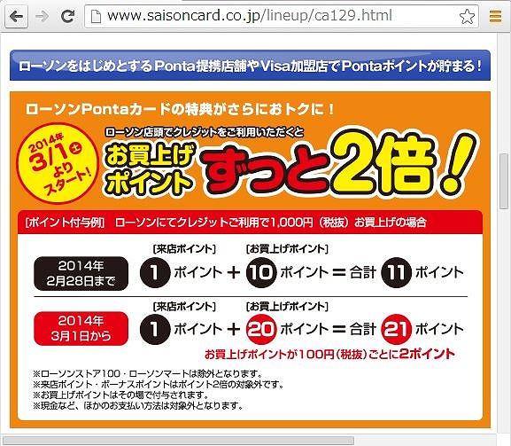 ローソンPontaカードVisa、ポイント2倍に変更で還元率1位に、JAL提携カードも