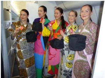 フィンエアー、日本路線で「SAKURA」フライト、客室乗務員が着物風の制服で