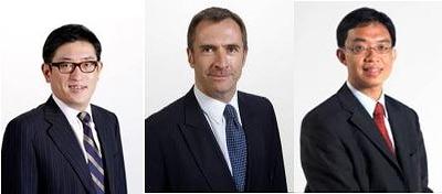 左から)次期セールス&マーケティング担当取締役のデーン・チェン氏、次期サービス担当取締役のジェームズ・ジンズ氏、次期コーポレート業務担当取締役のジェームズ・トン氏