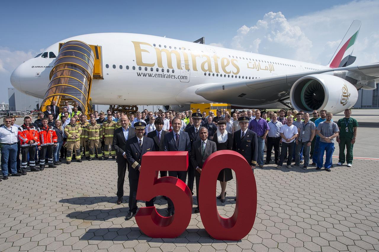エミレーツ航空が50機目のA380受領、今年末までに就航都市は33都市に