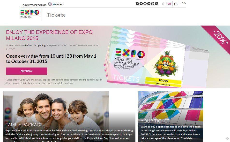 ミラノ万博2015、前売り入場券をオンライン販売開始、公式サイトで20%割引