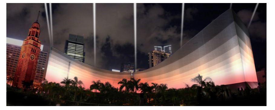 香港でプロジェクトマッピング活用の3Dショー、ビクトリア・ハーバーの夜景とともに