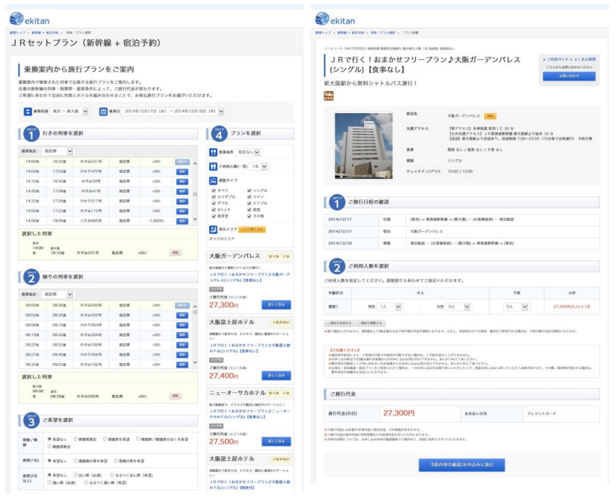 新幹線・宿泊先の予約画面(プレスリリースより)