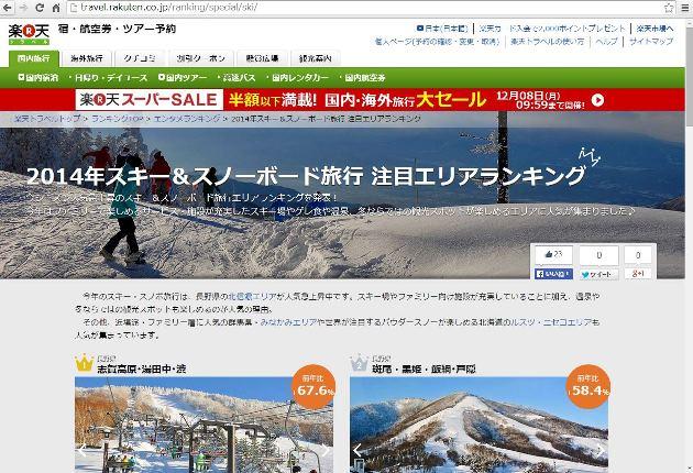 スキー・スノボ予約トレンド、伸び率トップは長野(志賀高原・湯田中・渋)67%増、カギはファミリー向けサービス -楽天トラベル予約実績から