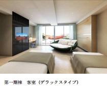 客室は窓を多く取り、屋外空間と一体化するデザインに