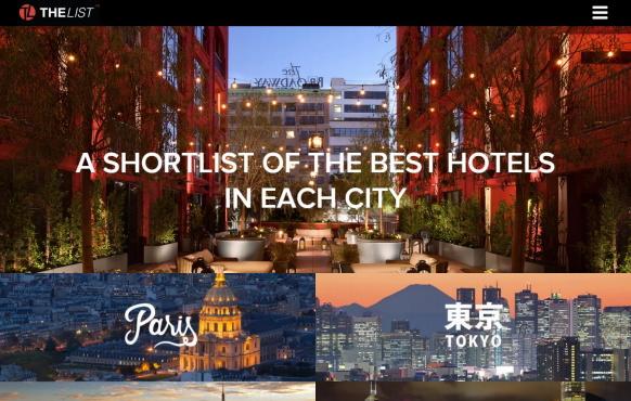 専門家が厳選ホテルを紹介する「THE LIST」が日本語スタート、日本人の海外旅行に対応