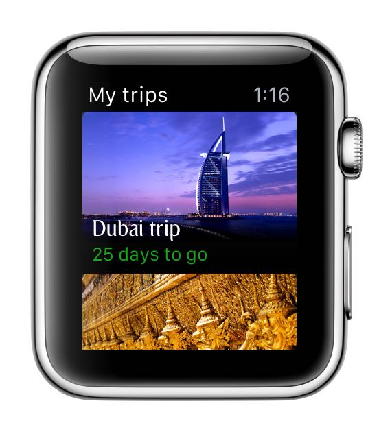エミレーツ航空、Apple Watch用アプリを開発、旅程確認やゲート変更などリアルタイム表示