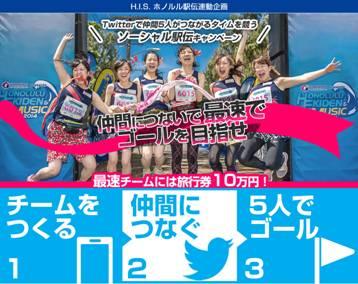 H.I.S.、ツイッターで「バーチャル駅伝」キャンペーン、優勝者には旅行券10万円を提供