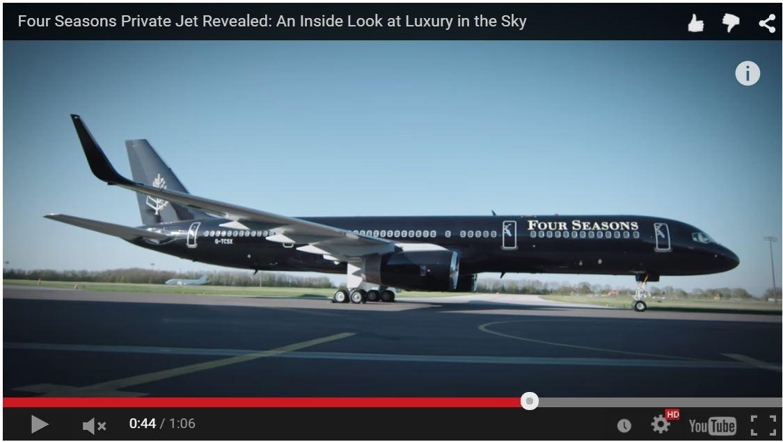 フォーシーズンズのプライベートジェット、サービスや機内全貌を動画公開 【動画】