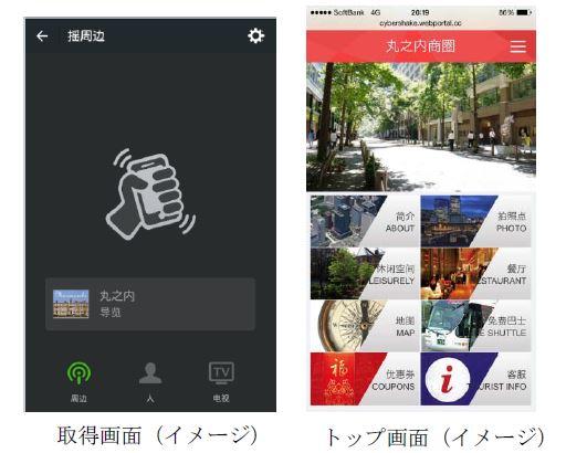 中国人観光客のスマホにアプローチ、東京・丸の内の観光情報を微信(ウィーチャット)のシェイク機能で発信 -三菱地所