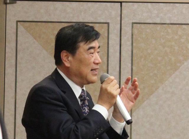 H.I.S.の創業者・澤田秀雄氏。今年もその経営手腕や異業種参入動向に目が離せない1年に(2015年3月19日JWTC・十人会合同勉強会において撮影)
