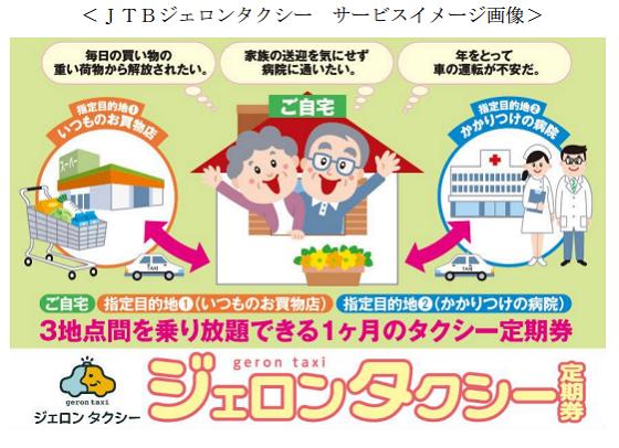 JTB、高齢者向け「定期券」型タクシーサービス、福岡で通院など日常利用の社会実験へ