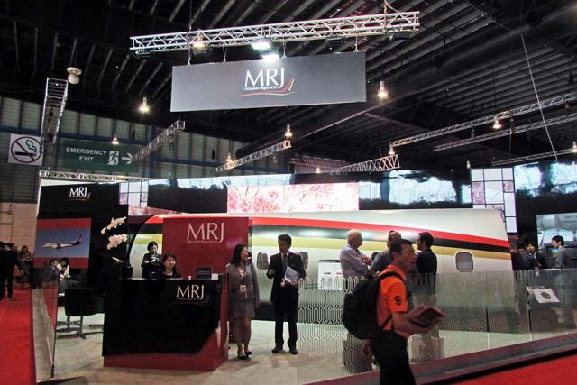 航空ショー初日にエアロリース社からのMRJ受注が発表された三菱航空機ブース