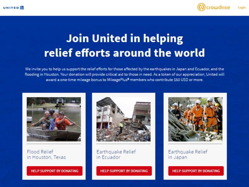 ユナイテッド航空、九州やエクアドル大地震など被災者支援へ、250米ドル以上の寄付で1000マイル提供など