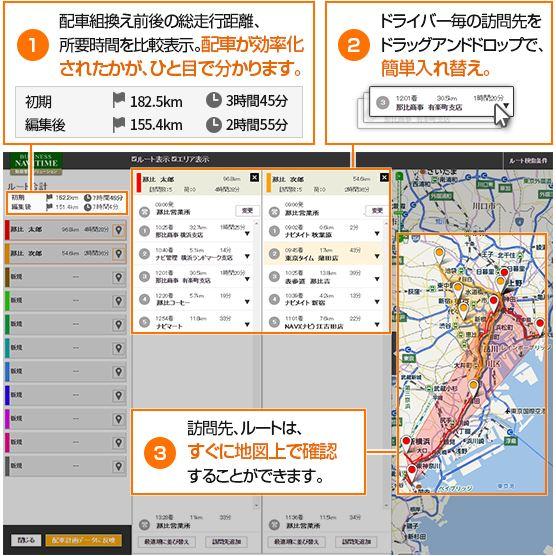 ナビタイム、BtoB運行管理サービスに新機能、配車の効率化で複数車両の経路確認など