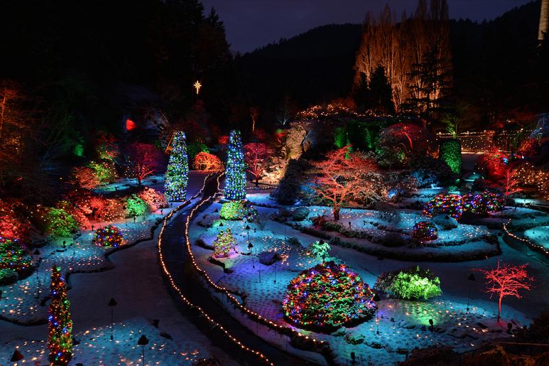 バンクーバー・ブッチャートガーデンのクリスマスイルミネーション(写真提供:The Butchart Gardens)