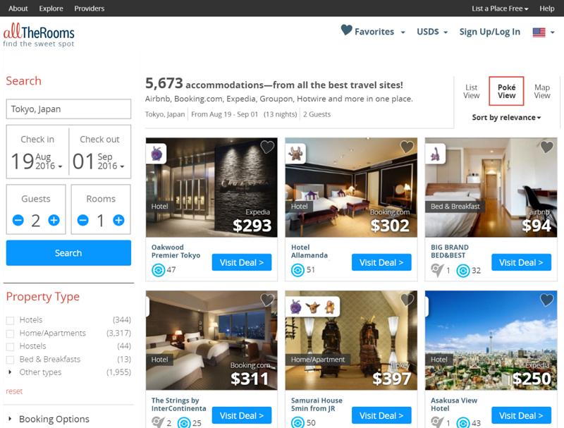 ポケモンGOで宿泊先を選ぶ新サービスが登場、旅行比較サイトが滞在先周辺で出会えるポケモンを検索結果に表示 -米国・AllTheRooms