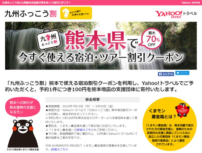 Yahoo! トラベル、「九州ふっこう割」連動で寄付活動を開始、熊本への宿泊予約1件につき100円を寄付