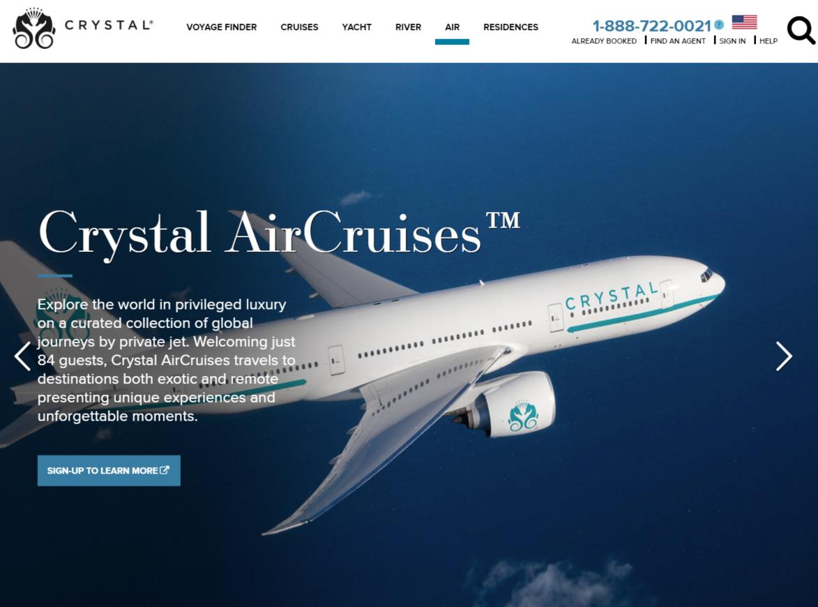 クルーズ会社の航空部門がラグジュアリー・ジェット、全ファーストクラスの最新仕様を発表 -クリスタル・クルーズ