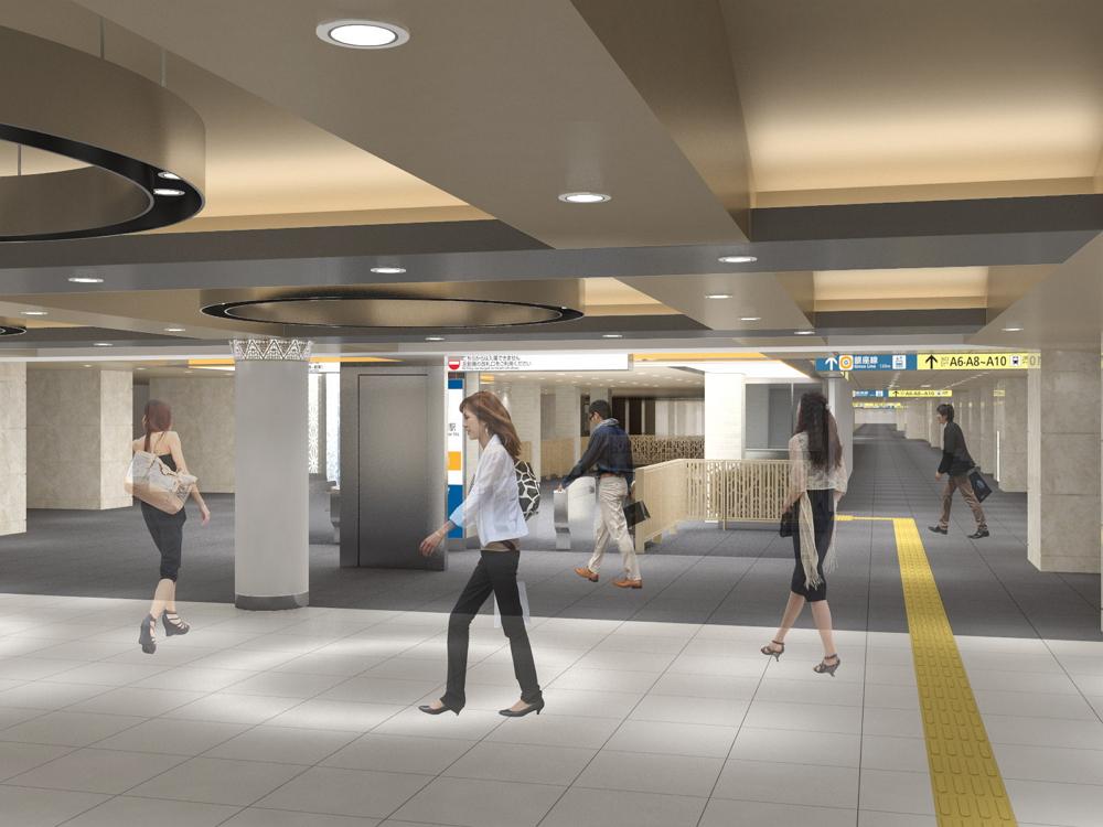 三越前駅のデザイン:東京メトロ提供