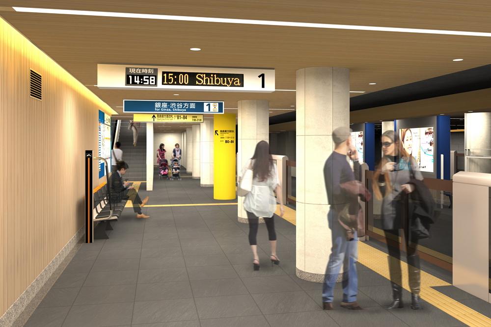 日本橋駅(銀座線)のデザイン:東京メトロ提供
