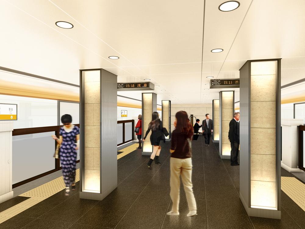 京橋駅のデザイン:東京メトロ提供