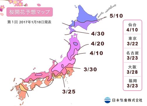 桜の開花予想2017(第1回)、東京は3月22日頃の見通し、東日本は平年並み