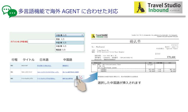 中国語(簡体・繁体)、韓国語をはじめ、オプションとして各国言語を利用できます。外国語で登録した文言を回答書や見積書に挿入できるので、手入力をしなくても簡単に作成することができます。