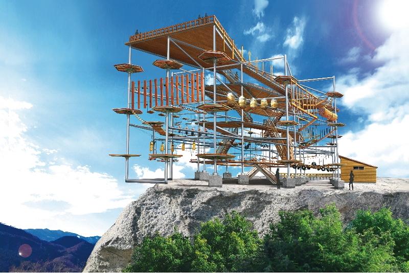 富士急行、さがみ湖施設に新アトラクションを誘致、標高370メートルの「崖に向かって伸びる橋」や「空飛ぶ自転車」など