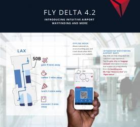 デルタ航空、成田など世界20空港のルート検索機能をアプリに追加、ネット接続なしでも利用可能に