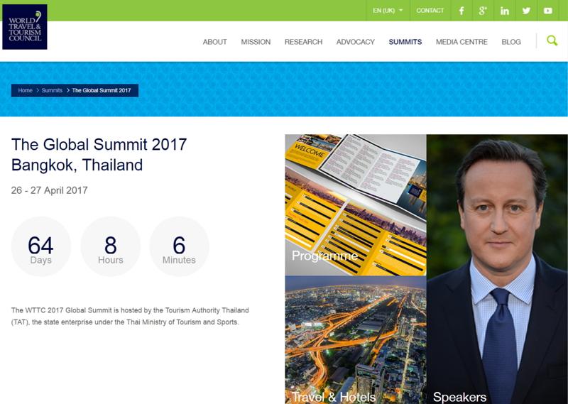 観光産業のダボス会議「WTTCグローバルサミット」、東南アジアで初めてバンコクで開催、2017年は4月26日から