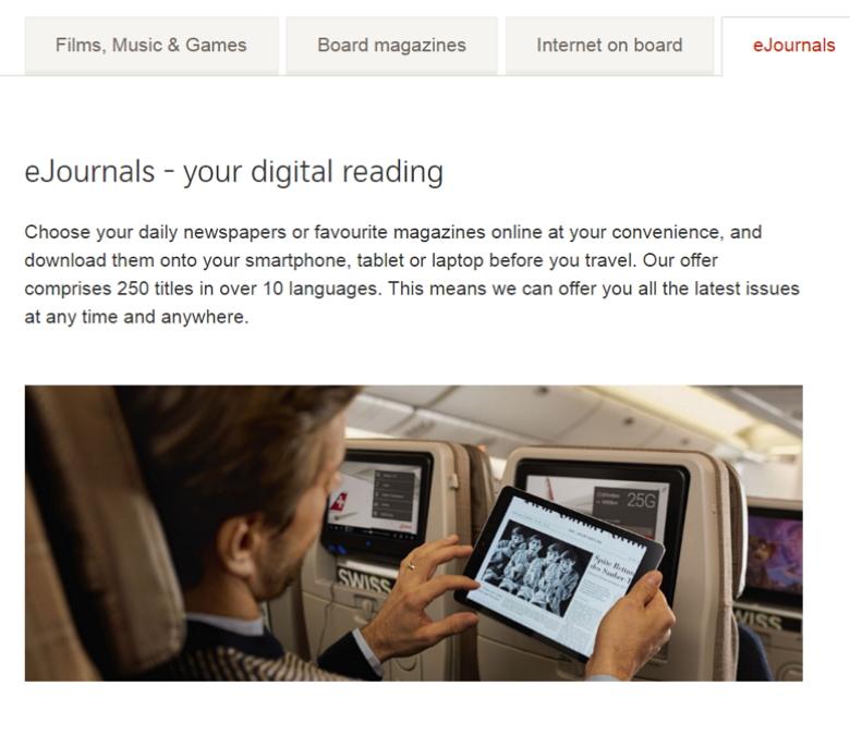 スイス・インターナショナル、航空機内の全座席で電子書籍サービス開始、ビジネス席では窓側の独立シートも