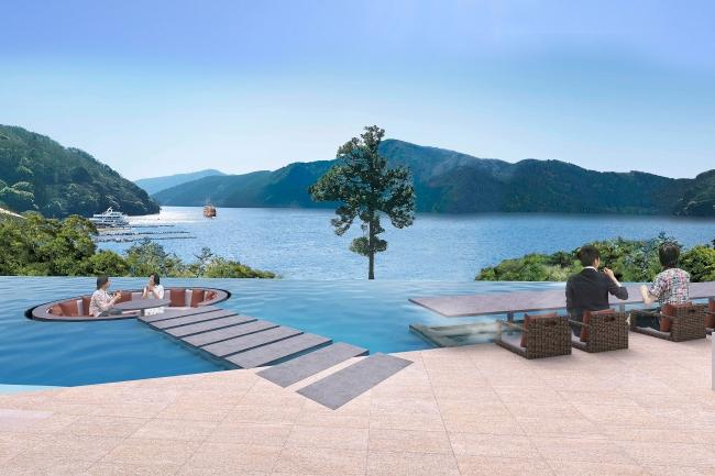 オリックス不動産、箱根・芦ノ湖畔に新築で温泉旅館を開業へ、全154室にオリジナルベットで