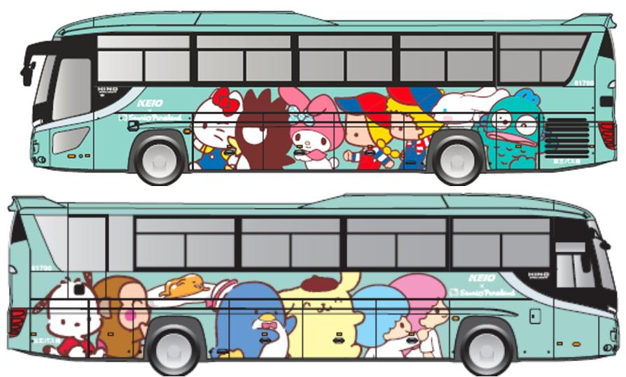 東京・多摩と成田空港の連絡バスに「サンリオピューロランド号」、降車ブザーはキティの声、外国人需要の拡大で【画像】