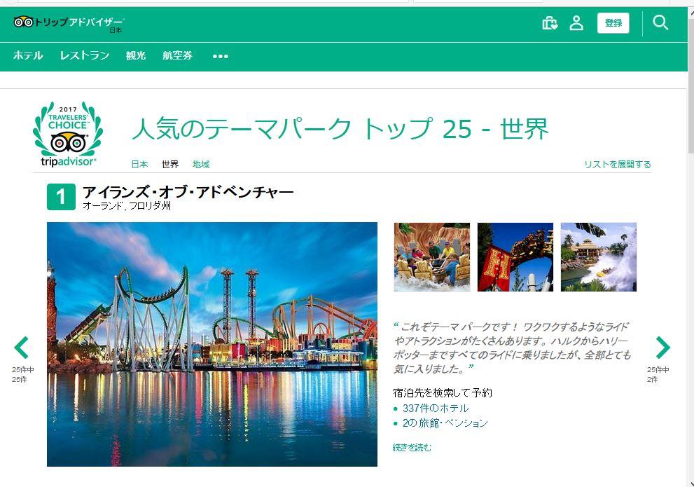 クチコミ評価でみる世界のテーマパーク2017、日本はUSJがトップを奪取、世界でもユニバーサル・スタジオ系が圧勝 -トリップアドバイザー
