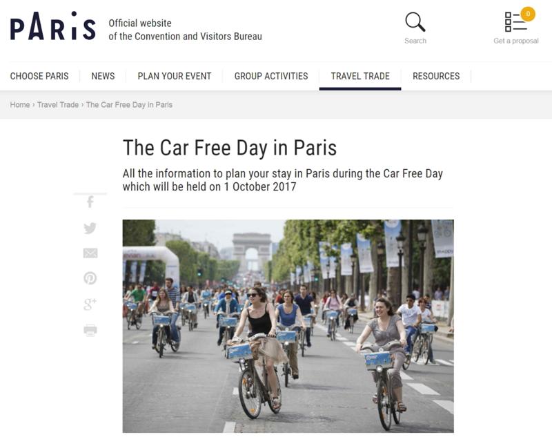 仏パリ、「渋滞なし」で観光できる日を制定、10月1日は市内のマイカー運転禁止に