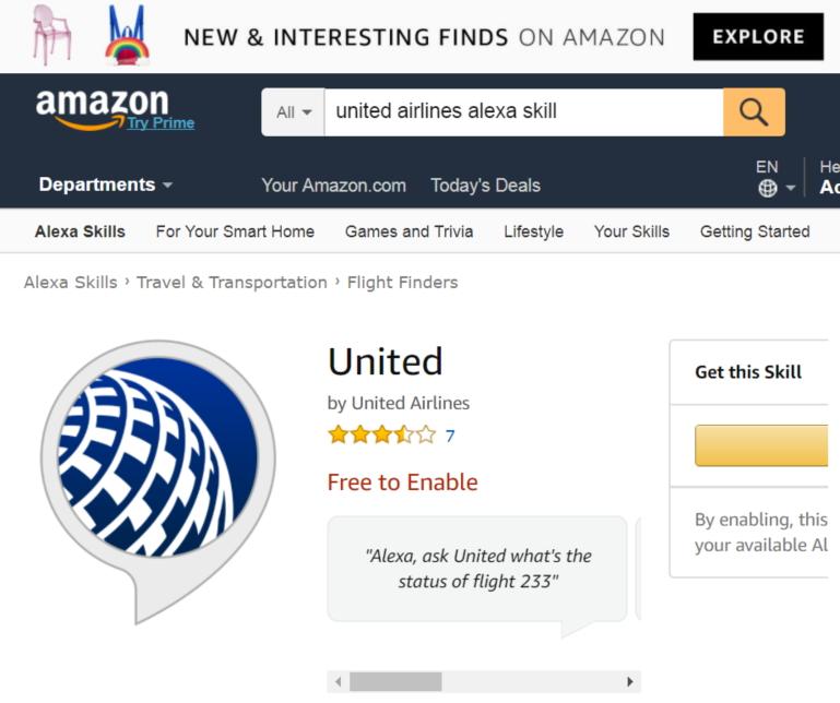 米ユナイテッド航空、アマゾン「アレクサ」でAI音声サービスを実用化、話しかけてチェックインや質問を可能に