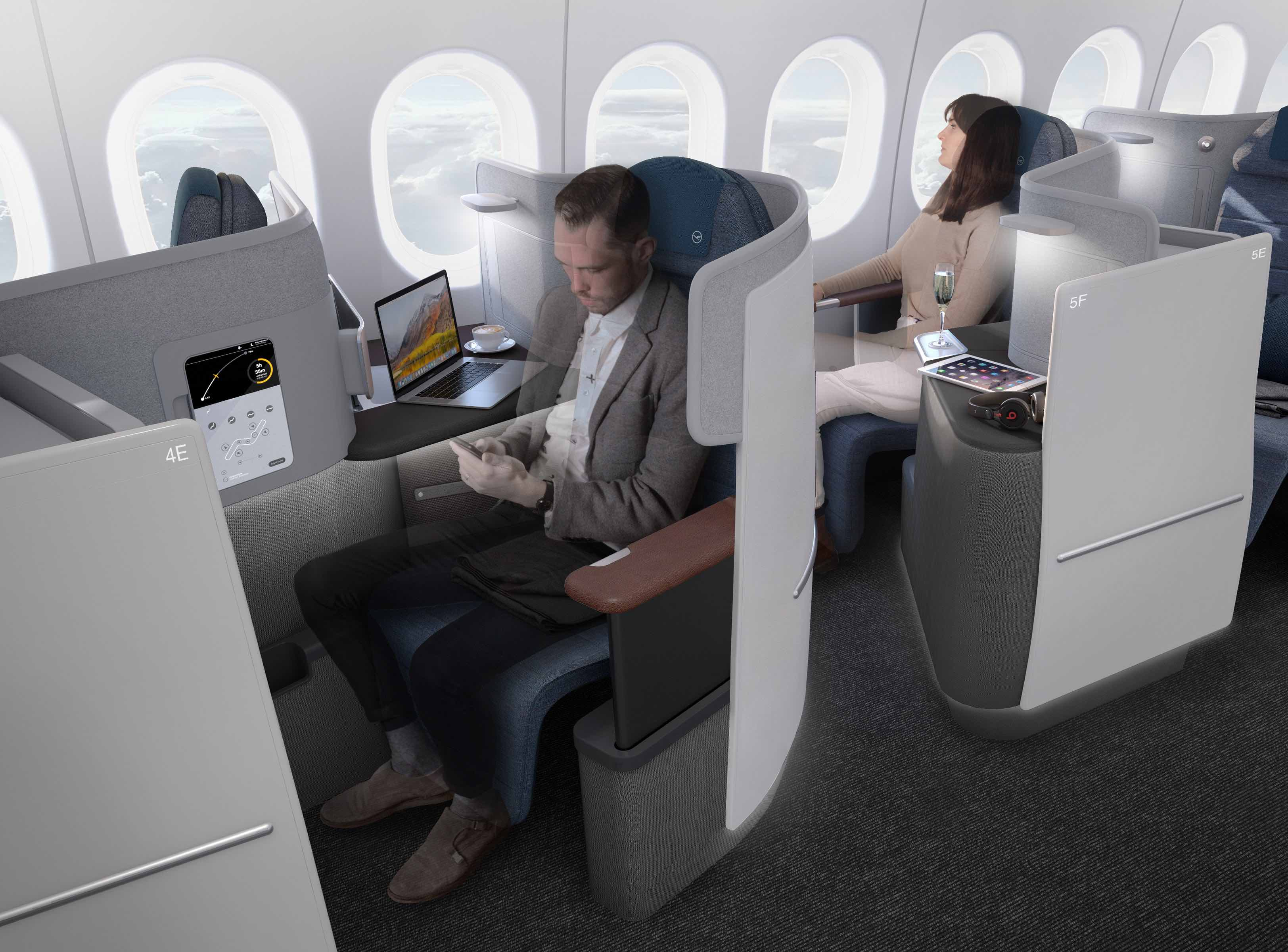 ルフトハンザ航空が新ビジネスクラスを導入、自分のスマホで機内エンタメ操作も、2020年からボーイング777-9に