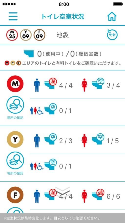 東京メトロ、公式アプリでトイレ空室状況を案内、池袋駅で実証実験