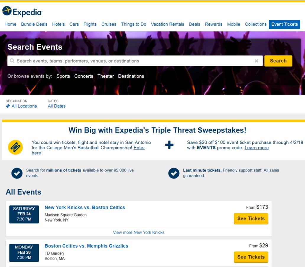 米エクスペディア、北米でスポーツ観戦など「イベント券の予約」を開始、航空券などと同時予約の利便性を強みに