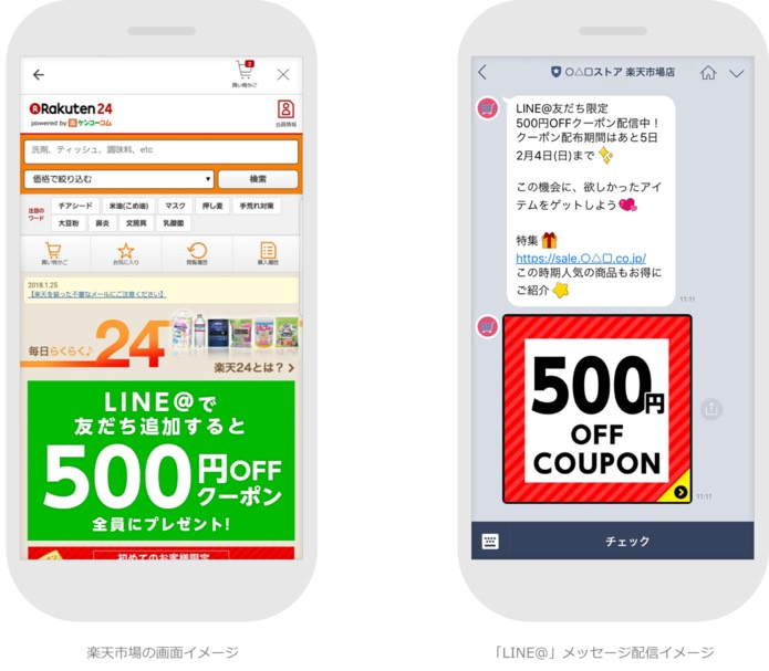 楽天のSNSサービスと「LINE」が連携、出店店舗がクーポン情報など発信が可能に、企業アカウント「LINE@」を導入で