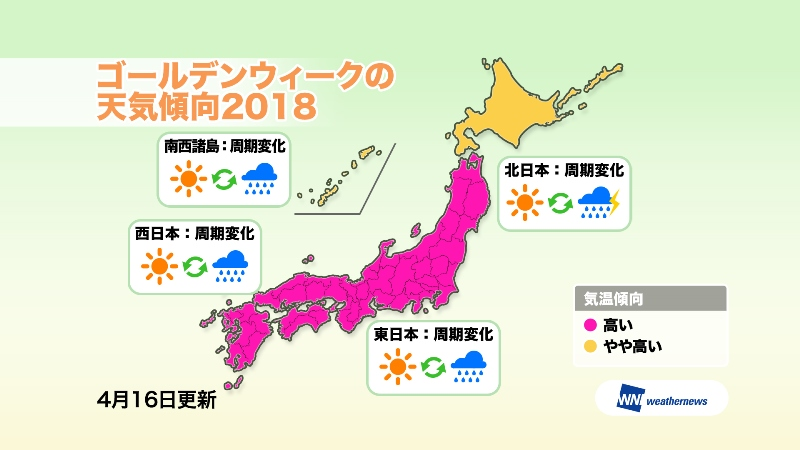 2018年ゴールデンウィークの天気は「平年より暑い」予測、北海道に桜が北上 -ウェザーニューズ